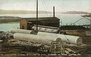 Vinalhaven, Maine - Monolithic columns quarried for the Cathedral of St. John the Divine, installation completed in 1904
