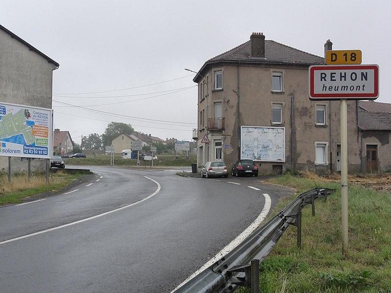 Réhon (Meurthe-et-M.) city limit sign Heumont