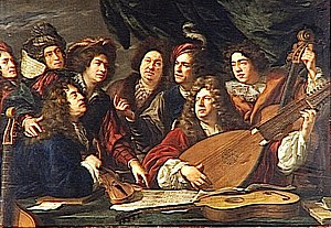 La Petite Bande - Jean-Baptiste Lully (holding the violin) surrounded by musicians at the court of Louis XIV. La Petite Bande takes its name from Lully's orchestra, La Petite Bande des Violons du Roi. (Painting by François Puget, 1688.)