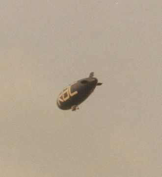Kimberley, Nottinghamshire - Airship advertising the RAC flying over Kimberley in August 1997