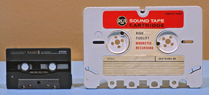 RCA tape cartridge - Size comparison of RCA tape cartridge (right) with the more common Compact Cassette