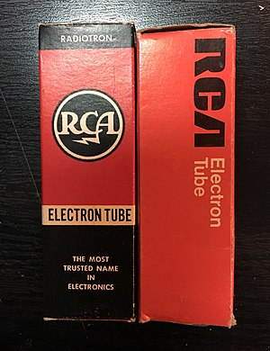 RCA - Two vacuum tube cartons, displaying different generations of the RCA logo