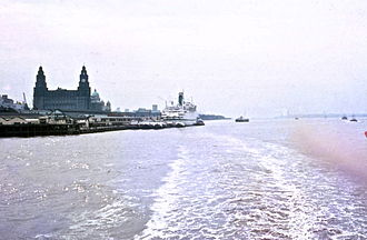 RMS Empress of Canada (1960) - Empress of Canada and Liver Building, Liverpool in 1971.
