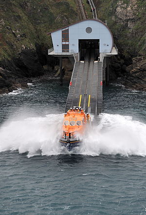 The Lizard Lifeboat Station - Rose, the current ''Tamar''-class lifeboat, launches from the RNLI lifeboat station at Kilcobben Cove, Cornwall on the Lizard.