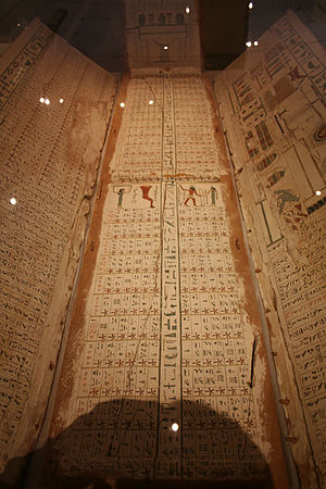 Egyptian chronology - 'Diagonal star table' from the 11th Dynasty coffin lid; found at Asyut, Egypt. Roemer- und Pelizaeus-Museum Hildesheim