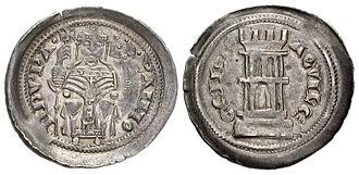 Raimondo della Torre - Denaro of Raimondo della Torre; the family's symbol, a torre, is on the verso.