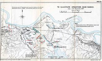 Battles of Ramadi (1917) - Map of the battles of Ramadi