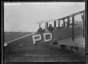 1919 England to Australia flight - Lieutenants Parer and McIntosh's arrival in Mascot Aerodrome on completing a flight from England, Sydney, 21 August 1920.