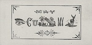 "Rebus - A rebus-style ""escort card"" from around 1865, to be read as ""May I see you home my dear?"""