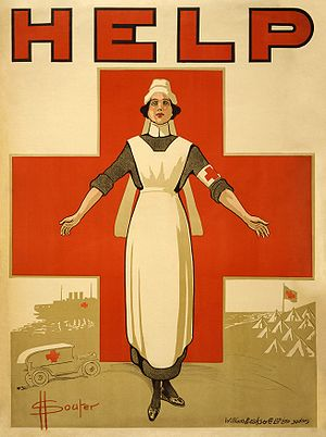Poster showing a nurse, with her arms outstret...