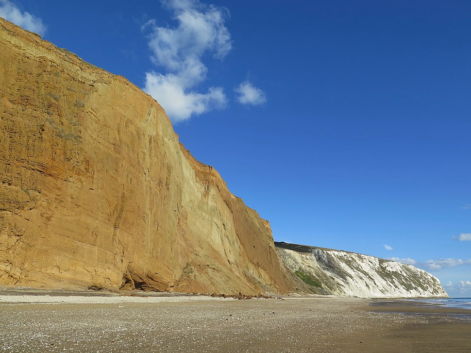 Red Cliff and Culver Cliff at the northern end of Sandown Bay