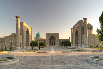 Registan - The Registan and its three madrasahs. From left to right: Ulugh Beg Madrasah, Tilya-Kori Madrasah and Sher-Dor Madrasah.