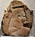 Relief of Queen Tiye, wearing the vulture headdress and uraeus. From the mortuary temple of Amenhotep III at Western Thebes, Egypt, c. 1375 BCE. Neues Museum.jpg