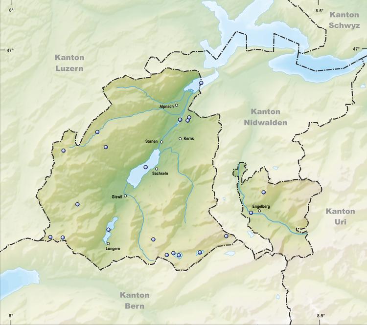 Reliefkarte Obwalder Seen
