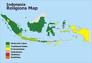 Christianity in Indonesia - Religion map in Indonesia (2010), Christian Protestants are shown in yellow and Catholics in pink
