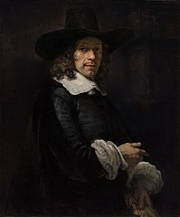 Portrait of a Man with a Tall Hat and Gloves