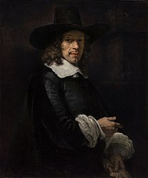 Rembrandt: Portrait of a Gentleman with a Tall Hat and Gloves
