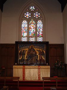 Reredos at St Mary's Church, West Rainton. By Antonio Salviati 01.JPG