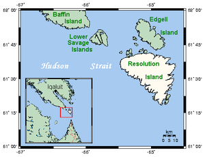 Lower Savage Islands - Closeup of Lower Savage Islands and neighbouring area