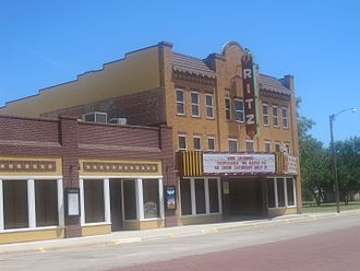 """Wellington, Texas - The restored Historic Ritz Theatre in Wellington. In 2011, the theatre was among 100 national finalists in the """"This Place Matters"""" competition of the National Trust for Historic Preservation."""