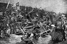 Бронированные мужчины на лошадь и пешком нападают друг на друг с мечами и алебардами в реке.  Те, на правом стремятся покинуть бой во время преследуемых масс людей, которые зарядные с левым