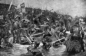 Armoured men on horses and on foot attack each other with swords and polearms in a river. The ones on the right are seeking to flee the battle while pursued by the mass of men who are charging in from the left.