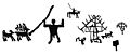 Rock carvings of dwellings and domestic animals, Iron Age. Wellcome M0015467.jpg