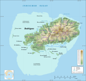 14 Zones of Rodrigues, with Port Mathurin due north