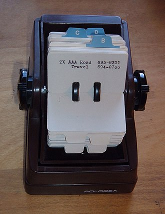 Rolodex - A Rolodex file used in the 1970s.