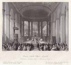 St Mary Moorfields - The original chapel in 1836: interior facing east