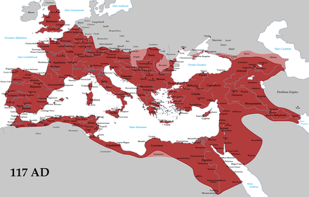 The Roman Empire at its greatest extent in 117 AD, approximately 6.5 million square kilometres (2.5 million square miles)[40] of land surface.