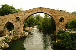 "The hump-backed ""Roman Bridge"" on the Sella River"