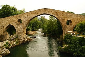 "Cangas de Onís - The hump-backed ""Roman Bridge"" on the Sella River"