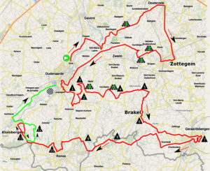 Tour of Flanders for Women - Route of the 2017 race. The last 16 km are shown in green.