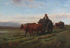 Ploughing in the Nivernais - Image: Rosa Bonheur, En allant au marché (1851)