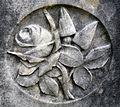 Rose symbolism on gravestone, St Columba's, Stewarton, East Ayrshire, Scotland.jpg