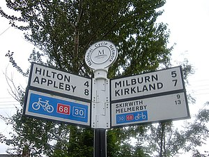 Pennine Cycleway - Image: Route 68 road sign geograph.org.uk 905028