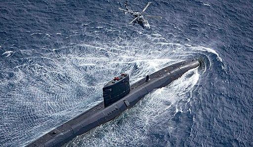 Royal Navy Trafalgar-class submarine HMS Trenchant and Royal Navy Wildcat HMA2 (3)