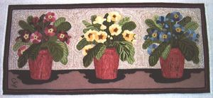 Rug hooking - A modern hooked rug from Lebanon, New Hampshire. Rug hooking was originally developed in England as a method of using leftover scraps of cloth.