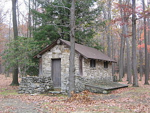 Pine Township, Clearfield County, Pennsylvania - A CCC built latrine at S. B. Elliott State Park