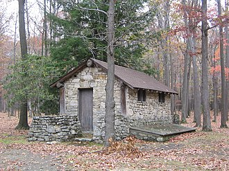 Pine Township, Clearfield County, Pennsylvania - A CCC built latrine at S. B. Elliott State Park