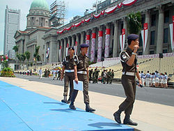 Singapore Armed Forces Military Police Command providing security coverage at the Padang during the National Day Parade in 2000.