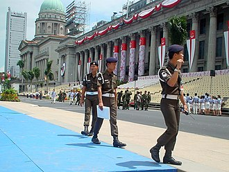 Singapore National Day Parade - Singapore Armed Forces Military Police Command providing security coverage at the Padang during the National Day Parade in 2000.
