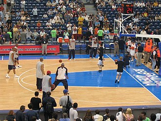 United States men's national basketball team - Team USA members warm up before the game in 2004 in Belgrade Arena