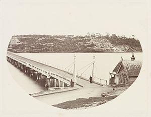 Glebe Island Bridge - The original Glebe Island Bridge in 1872