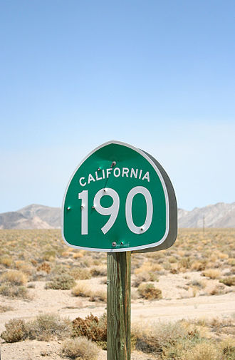 California State Route 190 - SR 190 shield in Death Valley