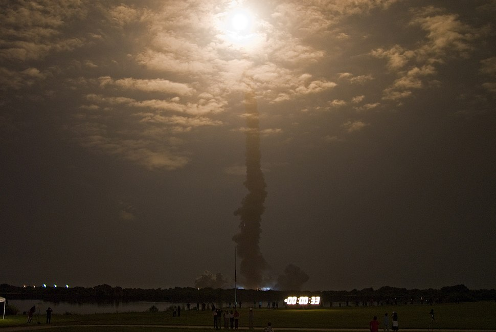 STS-128 launch clouds