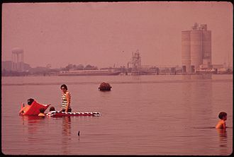 Lake Charles, Louisiana - Swimming in polluted Lake Charles opposite the Olin Mathieson chemical plant in 1972.  Cleanup efforts to Lake Charles' waterways have been so successful that Prien Lake now supports both recreational and commercial fishing, and has a safe public beach.
