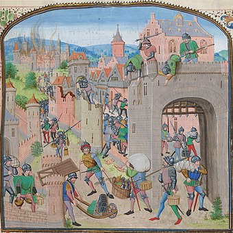A colourful fourteenth century depiction of a town being sacked