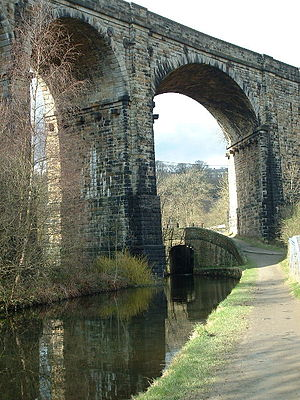Saddleworth - Saddleworth Viaduct was built originally to aid the transporting of goods during the Industrial Revolution, as was the Huddersfield Narrow Canal, which passes under it.